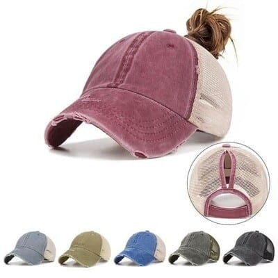 Worn (Rustic!) Ponytail Hat