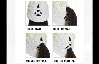 Knit Criss Cross Ponytail Hat