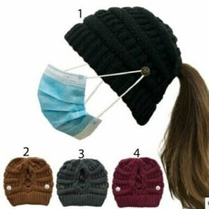 Knit Criss Cross Ponytail Hat with Mask Buttons