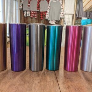 20oz Skinny Stainless Steel Tumblers Metallic Colours (Non Sublimation)