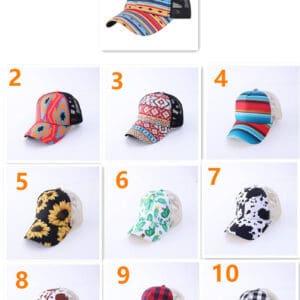 Pattern Criss Cross Ponytail Hats Adult
