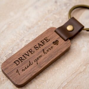 Wood Leather Keychains