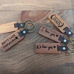 Wood Leather Keychains